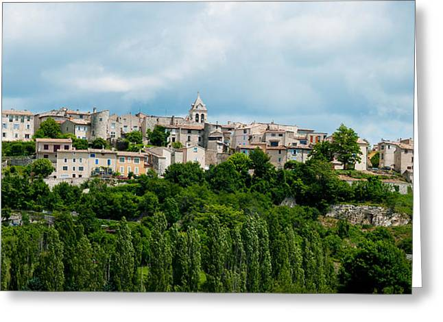 Vaucluse Greeting Cards - Town On A Hill, Sault, Vaucluse Greeting Card by Panoramic Images