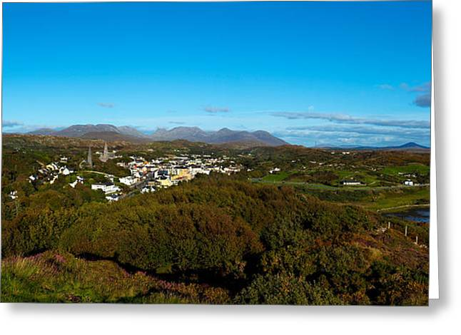 County Galway Greeting Cards - Town On A Hill With 12 Pin Mountain Greeting Card by Panoramic Images