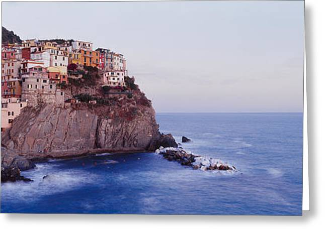 On Top Greeting Cards - Town On A Hillside, Manarola Greeting Card by Panoramic Images