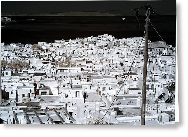 Ir Photography Greeting Cards - Town on the Aegean Sea infrared Greeting Card by John Rizzuto