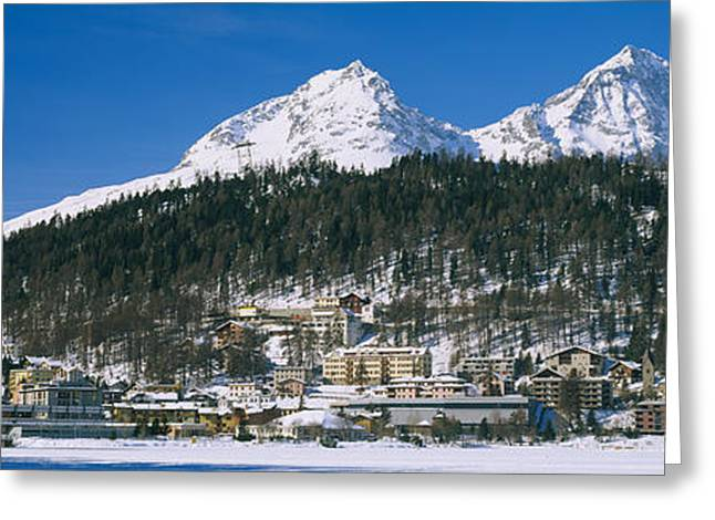 Mountain Greeting Cards - Town On The Mountainside, Saint Moritz Greeting Card by Panoramic Images