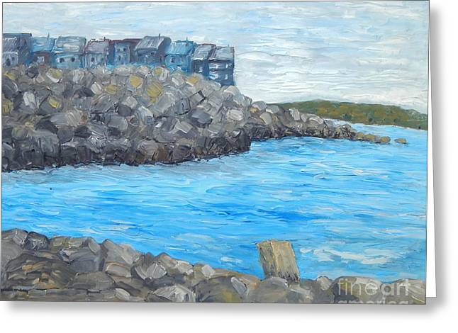 Ocean Scenes Greeting Cards - Town On The Shore Greeting Card by Reb Frost