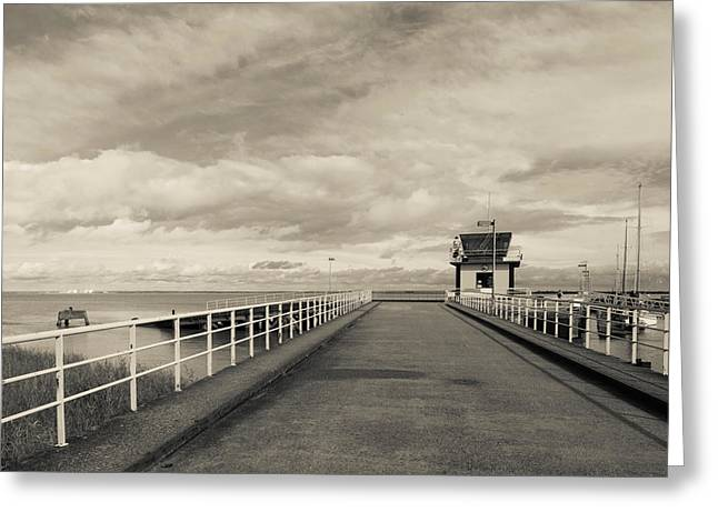 Overcast Day Greeting Cards - Town Pier On The Gironde River Greeting Card by Panoramic Images