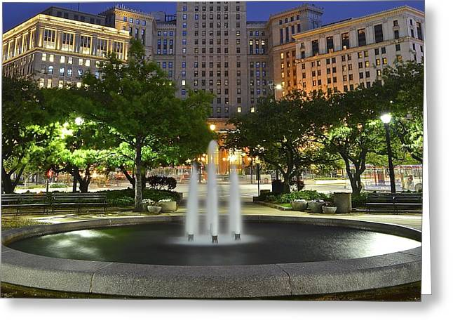 Town Square Fountain Greeting Card by Frozen in Time Fine Art Photography