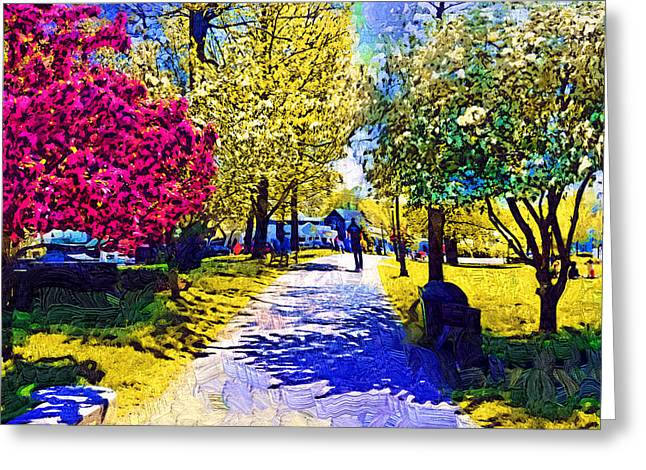 New England Village Greeting Cards - Town Square Greeting Card by Kirt Tisdale