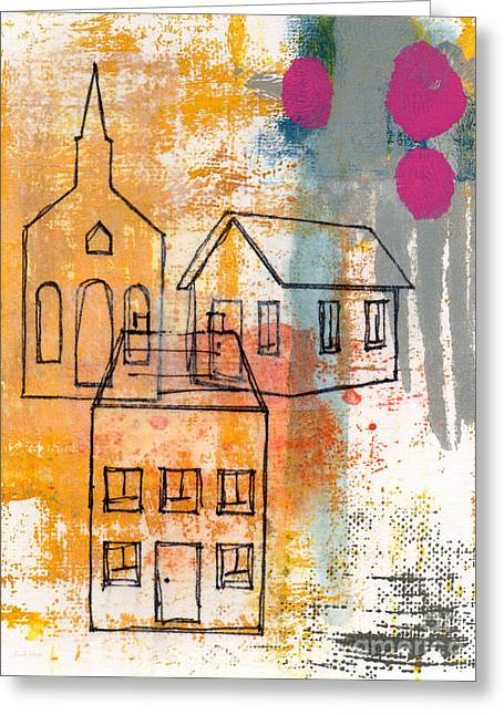 Monoprint Greeting Cards - Town Square Greeting Card by Linda Woods