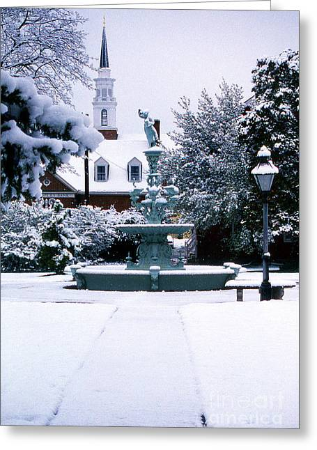 Town Square Greeting Cards - Town Square Greeting Card by Skip Willits