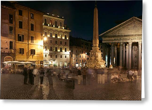 Pantheon Greeting Cards - Town Square With Buildings Lit Greeting Card by Panoramic Images
