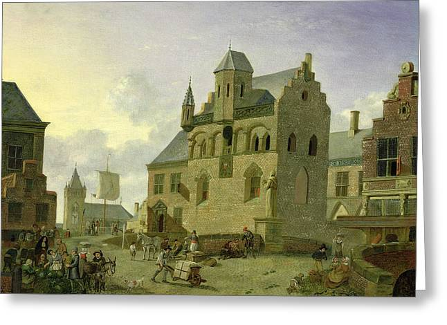 Town Square With Figures And Peasants Trading In A Market Place Panel Greeting Card by Johannes Huibert Prins