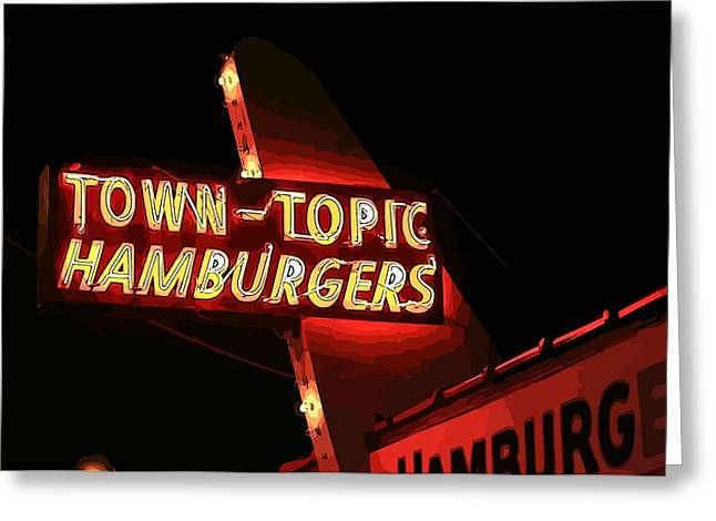 St Elizabeth Digital Greeting Cards - Town-Topic Hamburgers Red Greeting Card by Elizabeth Sullivan