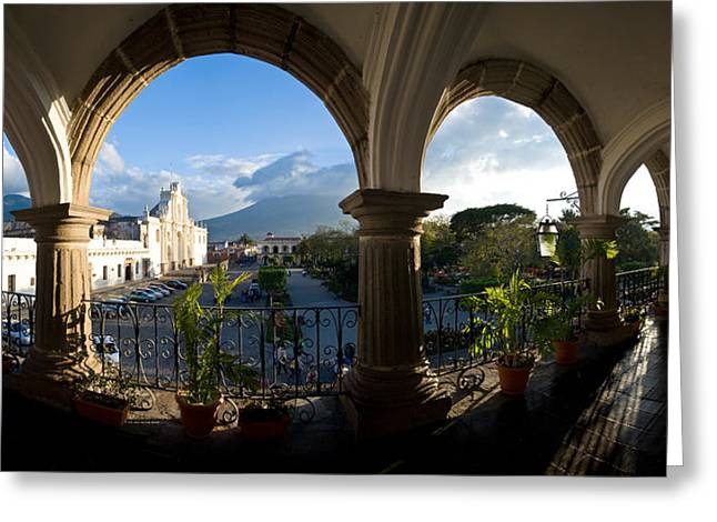 Guatemala Greeting Cards - Town Viewed Through From A Palace Greeting Card by Panoramic Images