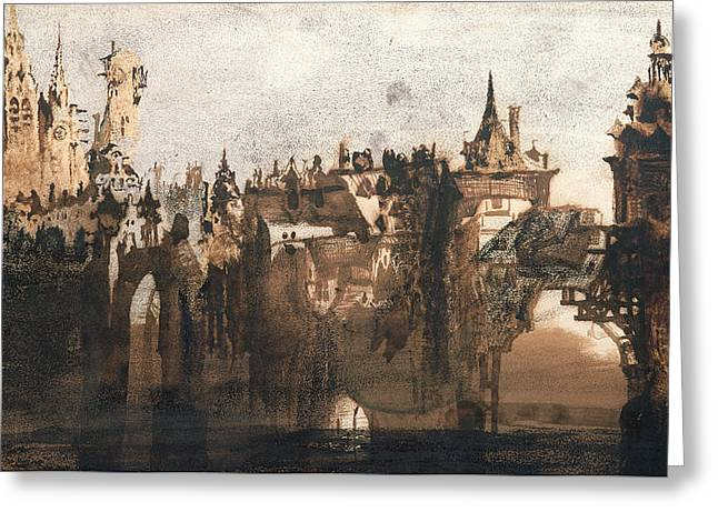 Town With A Broken Bridge Greeting Card by Victor Hugo