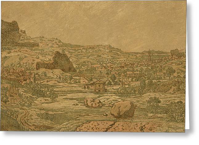 Recently Sold -  - Surveying Greeting Cards - Town with four towers Greeting Card by Hercules Segers
