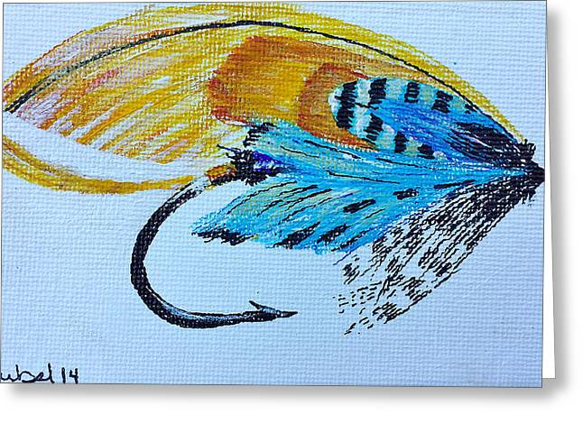 Salmon Paintings Greeting Cards - Townend Fly Greeting Card by Christina Deubel