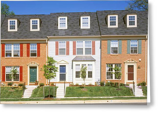 Townhouses Greeting Cards - Townhouse, Owings Mills, Maryland, Usa Greeting Card by Panoramic Images