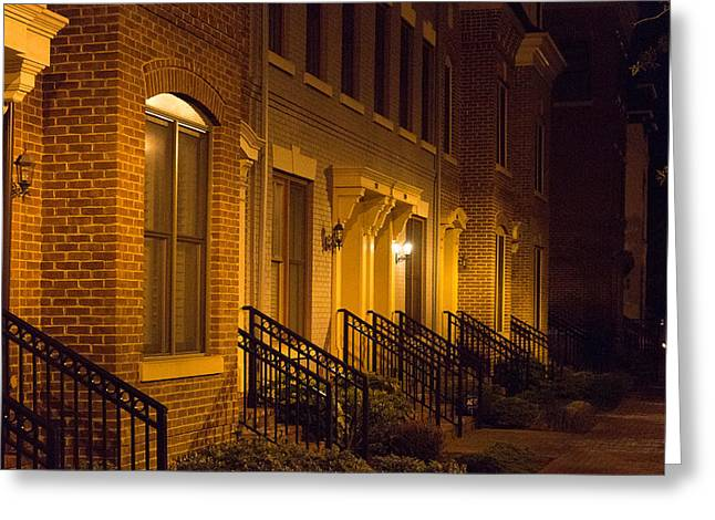 Night Lamp Greeting Cards - Townhouses in Alexandria Greeting Card by S Cass Alston
