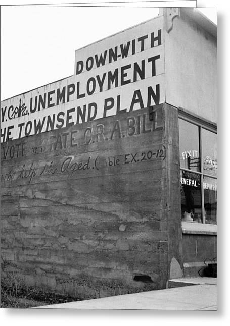 Paint Photograph Greeting Cards - Townsend Plan, 1939 Greeting Card by Granger