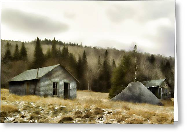 Old Maine Houses Greeting Cards - Township Remnants Greeting Card by Richard Bean