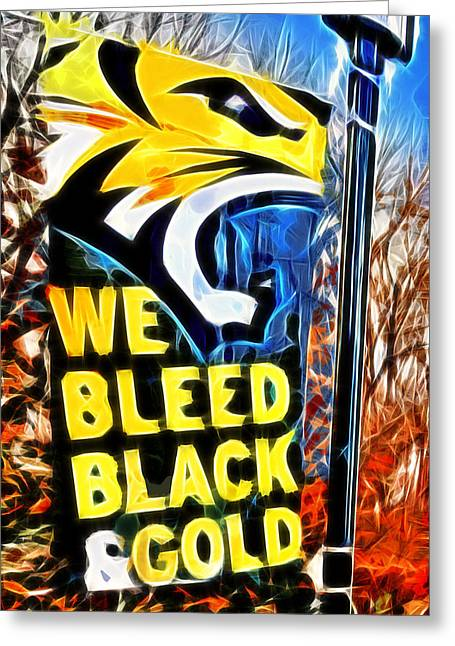 Towson Tigers Black And Gold Greeting Card by Stephen Younts