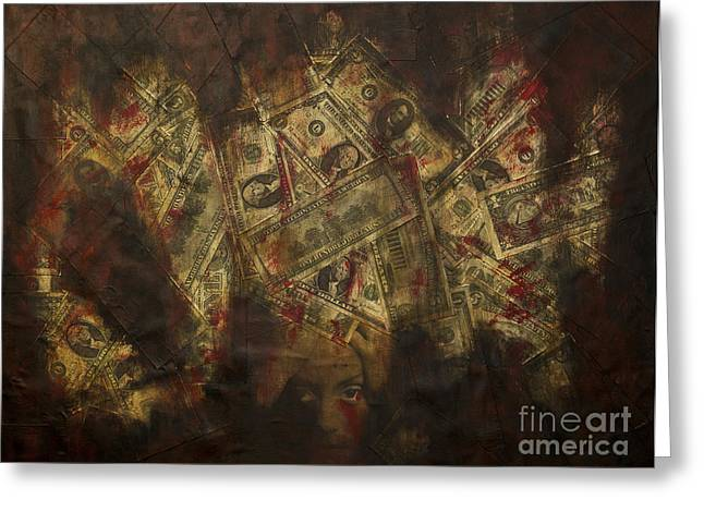 Us Capital Mixed Media Greeting Cards - Toxic Greed Greeting Card by Kamil Swiatek