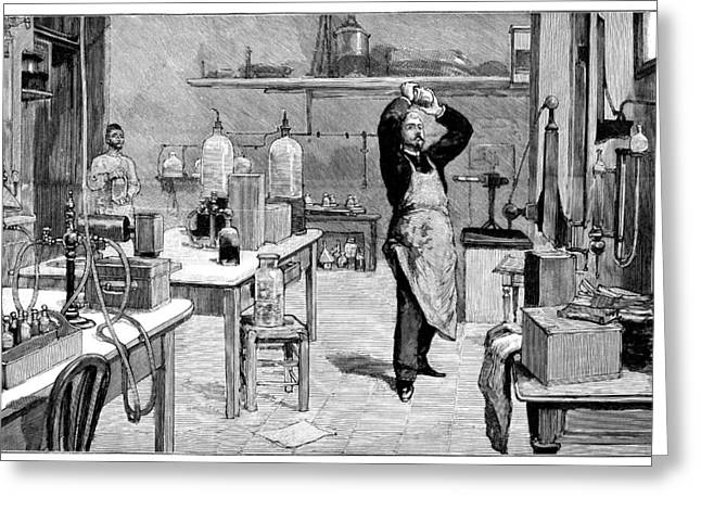 La Science Illustree Greeting Cards - Toxicology laboratory, 1893 Greeting Card by Science Photo Library