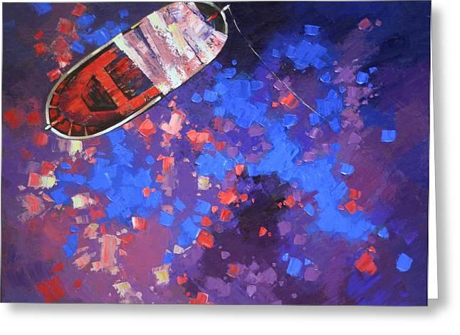 Boats On Water Greeting Cards - Toy boat Greeting Card by Anastasija Kraineva