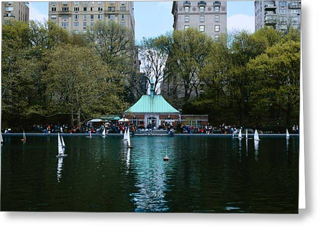 Sailboat Images Greeting Cards - Toy Boats Floating On Water, Central Greeting Card by Panoramic Images
