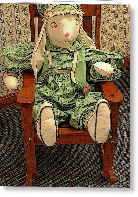 Toddlers Poster Greeting Cards - Toy Bunny In Rocker Greeting Card by Kathleen Struckle