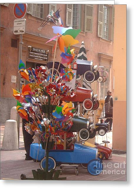 Toy Shop Greeting Cards - Toy Car Stacking  Greeting Card by Michelle Deyna-Hayward