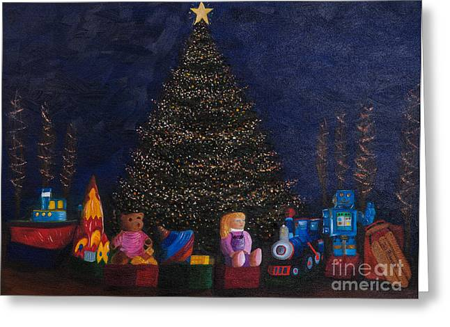 Richardson Greeting Cards - Christmas Toys Greeting Card by Iris Richardson