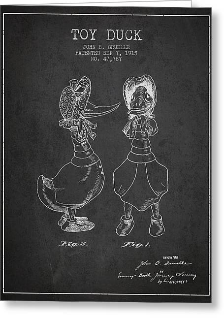 Child Toy Digital Greeting Cards - Toy Duck patent from 1915 - female - Charcoal Greeting Card by Aged Pixel
