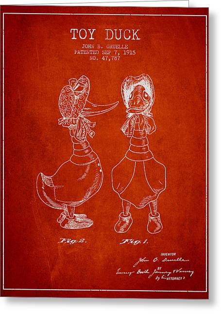 Vintage Dolls Greeting Cards - Toy Duck patent from 1915 - female - Red Greeting Card by Aged Pixel