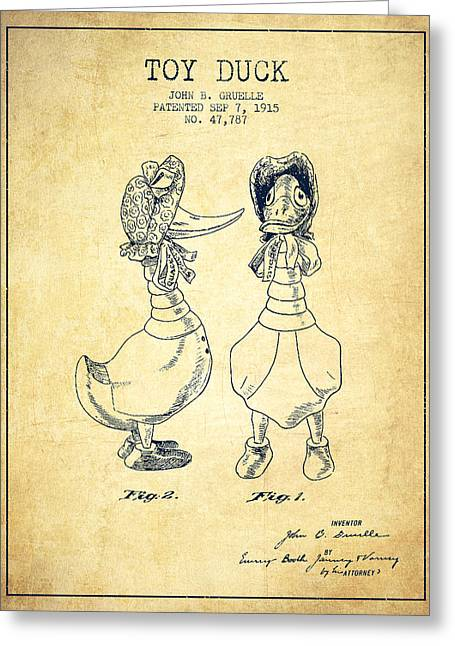 Child Toy Digital Greeting Cards - Toy Duck patent from 1915 - female - Vintage Greeting Card by Aged Pixel