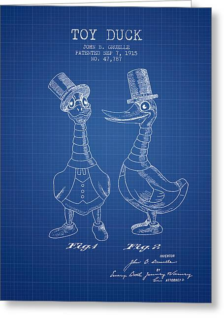 Vintage Dolls Greeting Cards - Toy Duck patent from 1915 - male - Blueprint Greeting Card by Aged Pixel