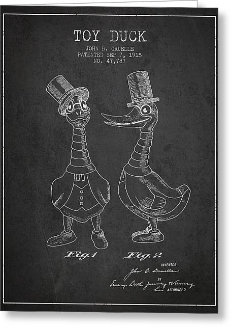 Vintage Dolls Greeting Cards - Toy Duck patent from 1915 - male - Charcoal Greeting Card by Aged Pixel