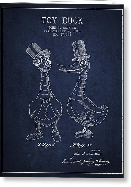 Child Toy Digital Greeting Cards - Toy Duck patent from 1915 - male - Navy Blue Greeting Card by Aged Pixel