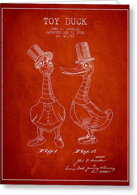 Vintage Dolls Greeting Cards - Toy Duck patent from 1915 - male - Red Greeting Card by Aged Pixel
