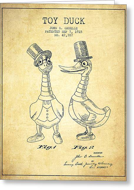 Vintage Dolls Greeting Cards - Toy Duck patent from 1915 - male - Vintage Greeting Card by Aged Pixel