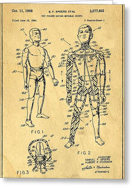 Speer Greeting Cards - Toy Figure Having Movable Joints Support Patent Drawing From 1966 1 Greeting Card by Samir Hanusa