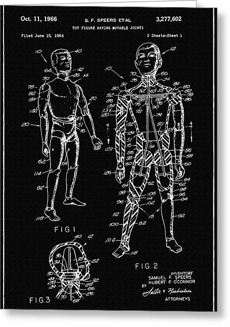 Speer Greeting Cards - Toy Figure Having Movable Joints Support Patent Drawing From 1966 2 Greeting Card by Samir Hanusa