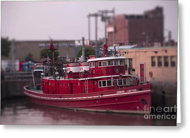Toy Boat Greeting Cards - Toy Fire Boat Greeting Card by Jim Lepard