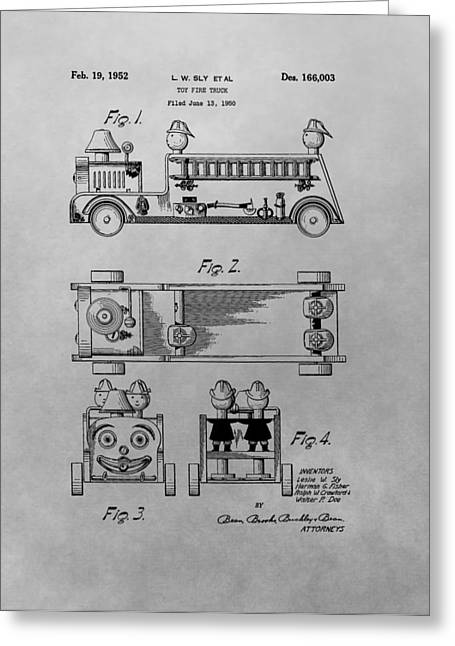 Toy Store Greeting Cards - Toy Fire Engine Patent Drawing Greeting Card by Dan Sproul