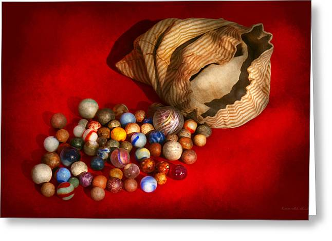 Collectors Toys Photographs Greeting Cards - Toy - Found my marbles Greeting Card by Mike Savad