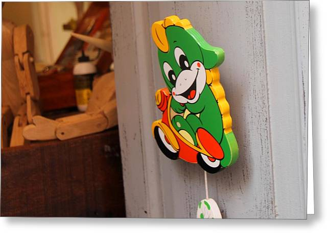 Toy Makers Door Greeting Card by April Antonia