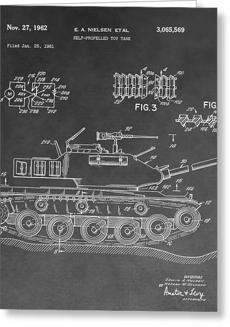 Army Tank Greeting Cards - Toy Military Tank Patent Greeting Card by Dan Sproul