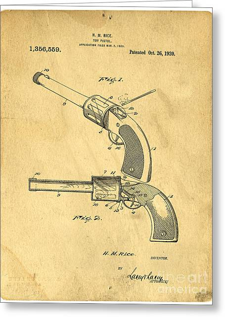 Invention Photographs Greeting Cards - Toy Pistol Circa 1920s Greeting Card by Edward Fielding