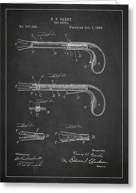 Pistol Greeting Cards - Toy Pistol Patent Drawing From 1895 Greeting Card by Aged Pixel