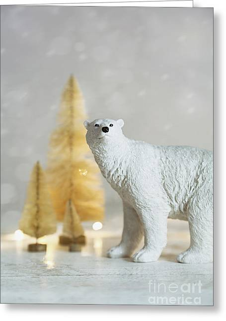 Merry Christmas Photographs Greeting Cards - Toy polar bear with little gold trees and lights Greeting Card by Sandra Cunningham