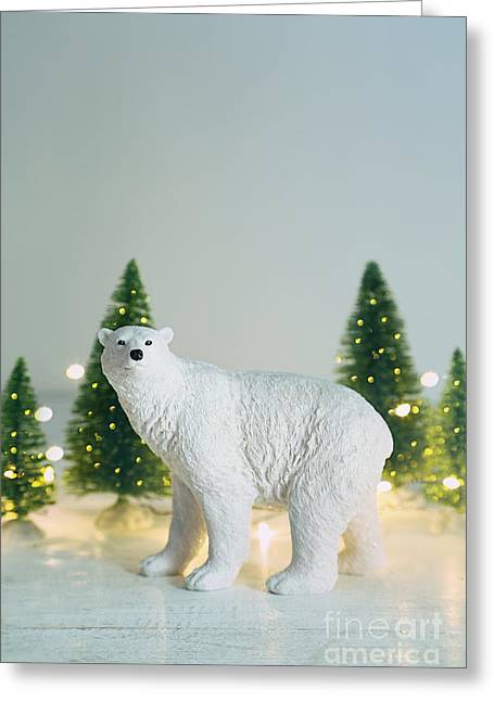 Toy Polar Bear With Little Trees And Lights Greeting Card by Sandra Cunningham
