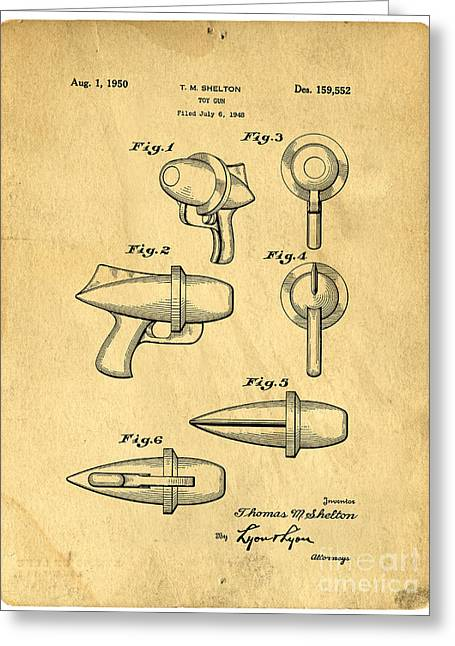 File Greeting Cards - Toy Ray Gun Patent Greeting Card by Edward Fielding